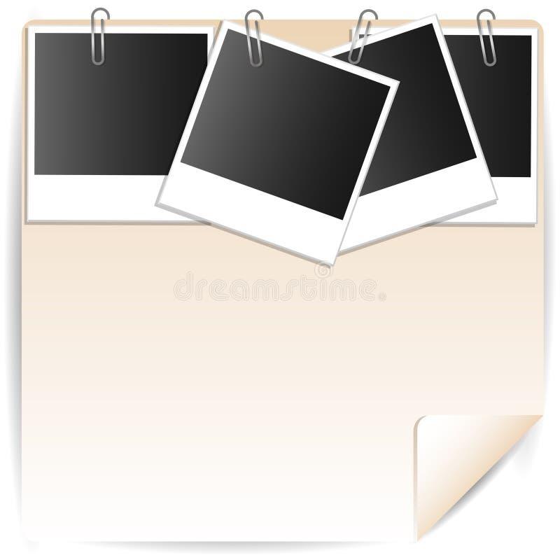 Illustration ein Foto und Büroklammern vektor abbildung