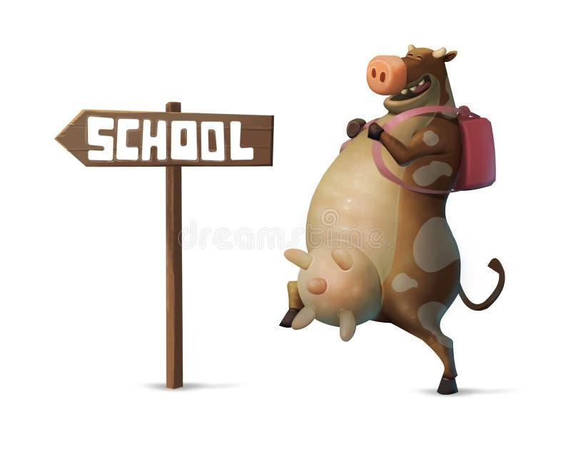 Illustration ein lustiger Kuhcharakter mit dem Rucksack, der zur Schule geht lizenzfreie abbildung
