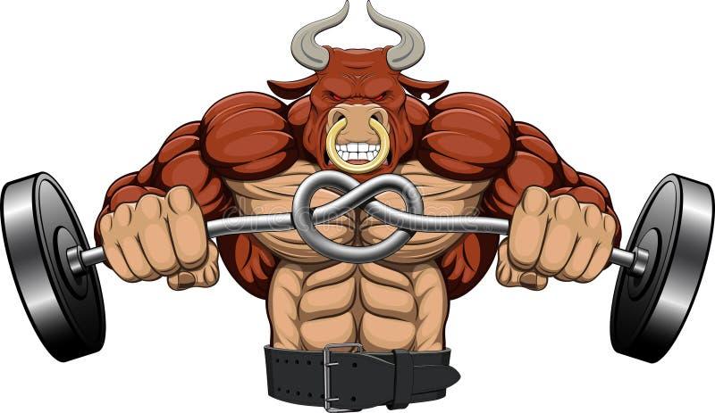 Illustration: ein starker verärgerter Stier stock abbildung