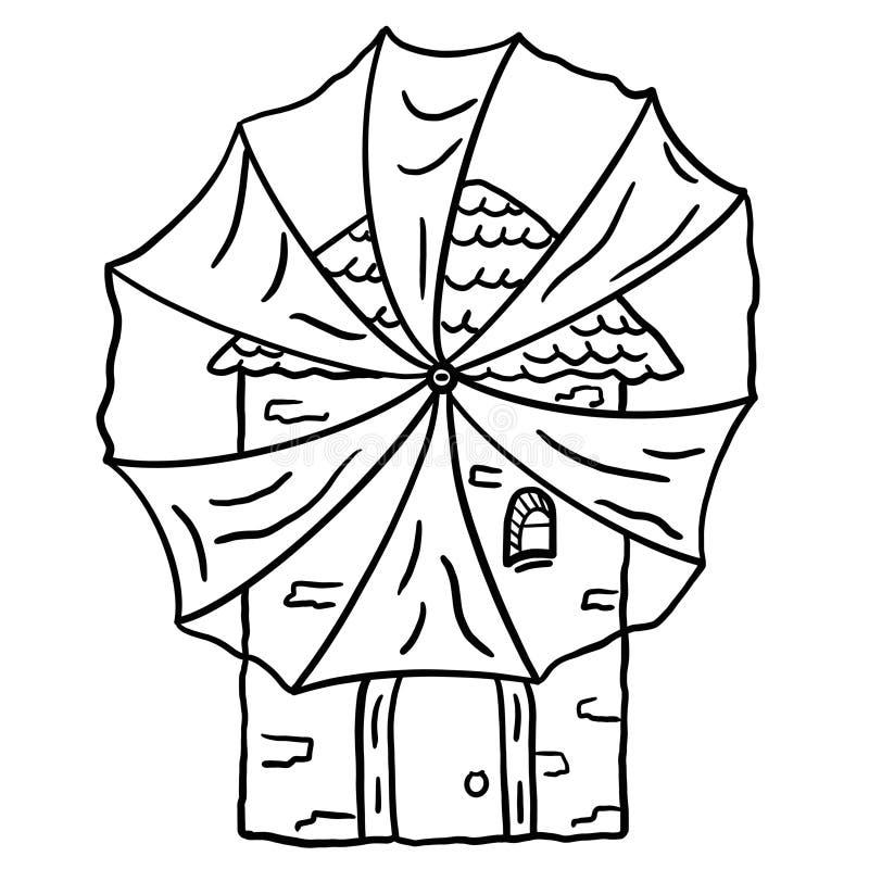 Illustration einer alten Steinmühle mit einer Gewebewindmühle auf einem weißen Hintergrund vektor abbildung