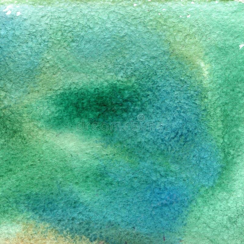 Illustration einer Aquarellbeschaffenheit der blauen und grünen Farben stock abbildung