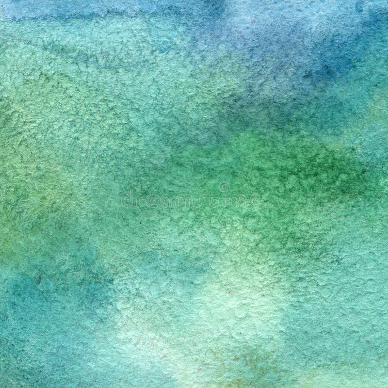 Illustration einer Aquarellbeschaffenheit der blauen und grünen Farben Abstrakter Hintergrund des Aquarells, Flecken, Unschärfe,  stock abbildung