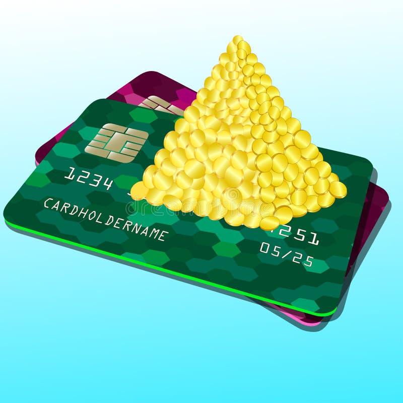 Illustration einer Bankkarte Pyramide des Geldes, M?nzen Bunte abstrakte Auslegung lizenzfreie abbildung