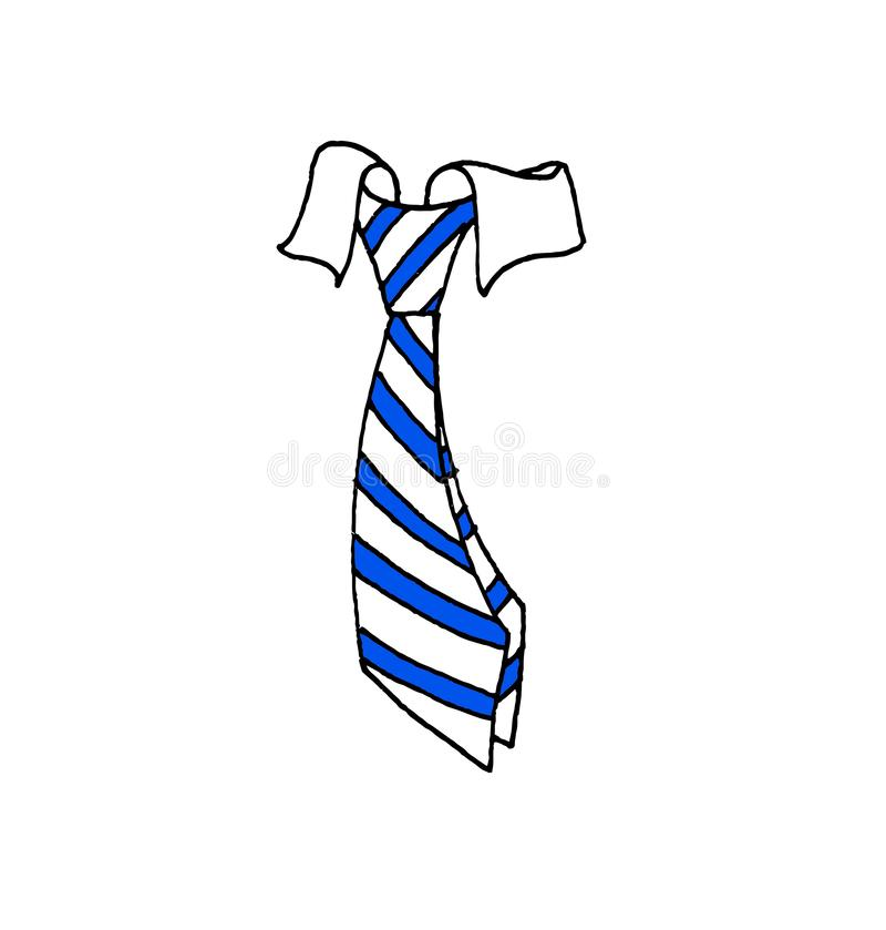 Illustration einer Bindung geknotet zum Hals eines Hemdes lizenzfreie abbildung