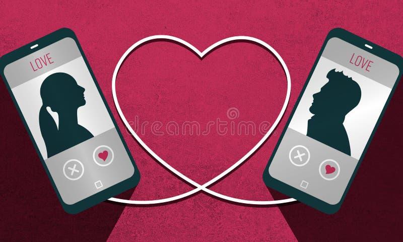 Illustration einer Datierung plattform APP und die Verbindung eines Mannes und der Frau stockfotos