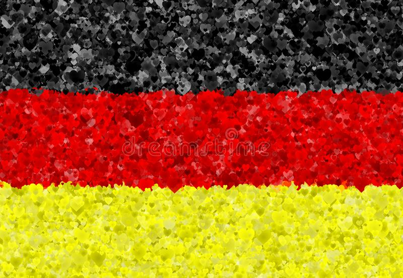 Illustration einer deutschen Flagge mit den übertragenen Herzen herum zerstreut stock abbildung