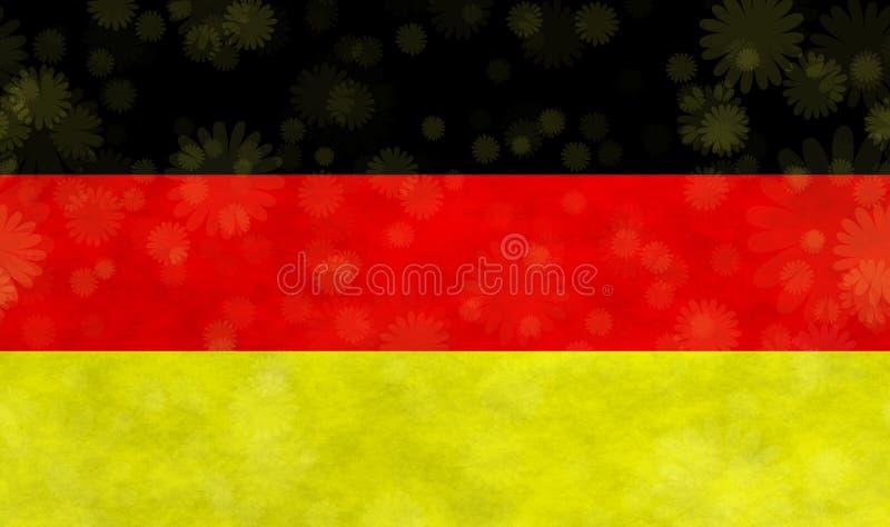 Illustration einer deutschen Flagge mit den Blüten herum zerstreut lizenzfreie abbildung