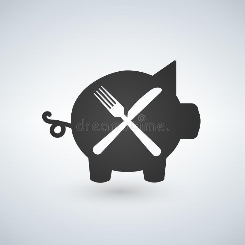 Illustration einer Gabel und des Messers mit einem Schwein vektor abbildung