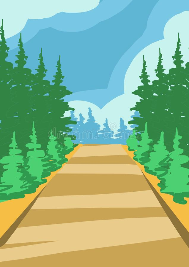 Illustration einer geraden Straße, die vorwärts zwischen grüne Bäume geht stock abbildung