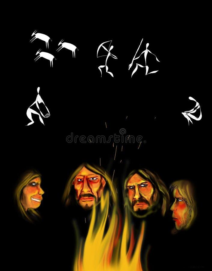 Illustration einer Gruppe prähistorischer Leute, die an ihre Jagdtätigkeiten angesichts des Feuers sich erinnern lizenzfreie abbildung