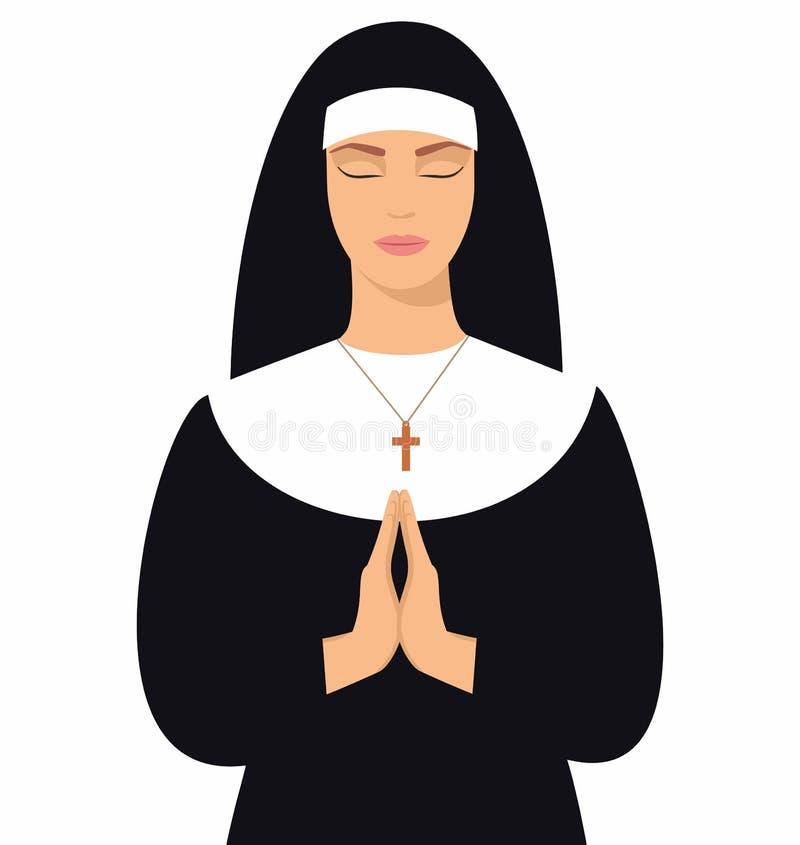Illustration einer jungen Nonne mit Augen schloss und die Hände, die im Gebet gefaltet wurden Junge Nonne in Gebetsposition lizenzfreie abbildung