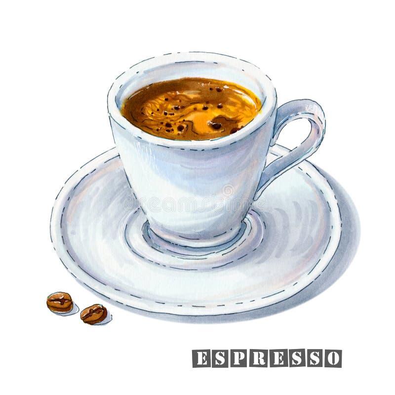Illustration einer keramischen weißen Schale mit heißem Espresso und des goldenen crema auf einer Untertasse stock abbildung