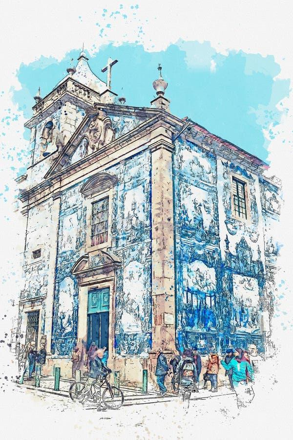 Illustration einer Kirche in Porto vektor abbildung