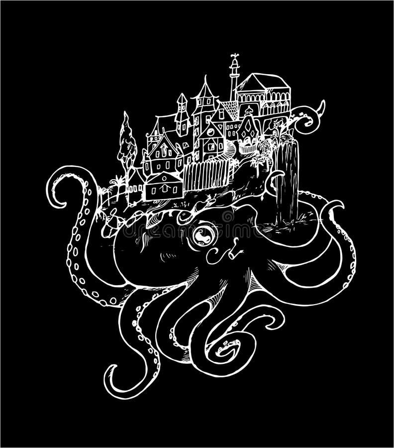 Illustration einer Krake mit einer alten Stadt Schwarzweiss-Zeichnung Kreide auf einer Tafel lizenzfreie abbildung