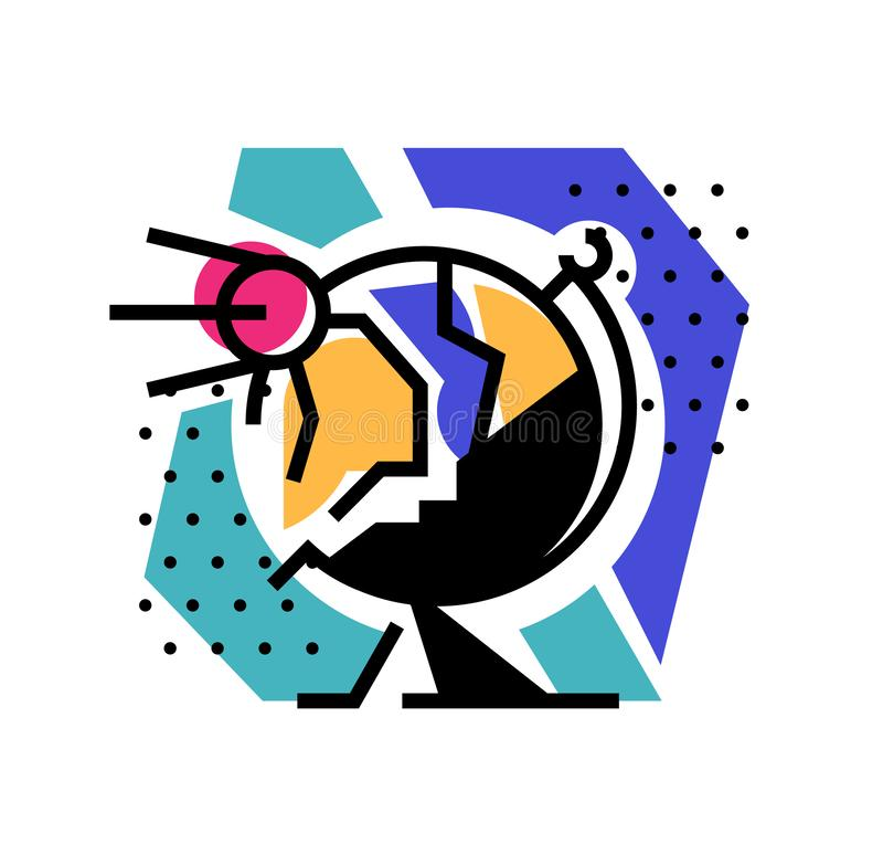Illustration einer Kugel Flache Ikone, Logo Illustrations-Planetenerde für einen Standort, Plakat, Postkarte Bild wird auf Weiß g stock abbildung