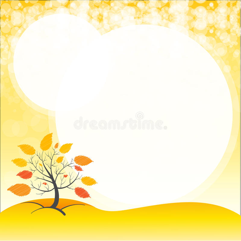 Eine Leerstelle mit einem Herbstbaum stock abbildung