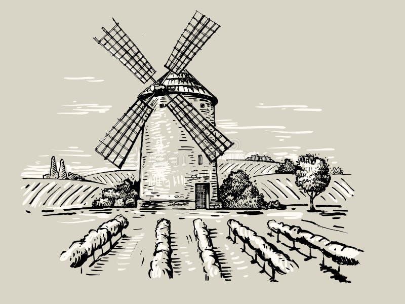 Illustration einer Mühle stock abbildung