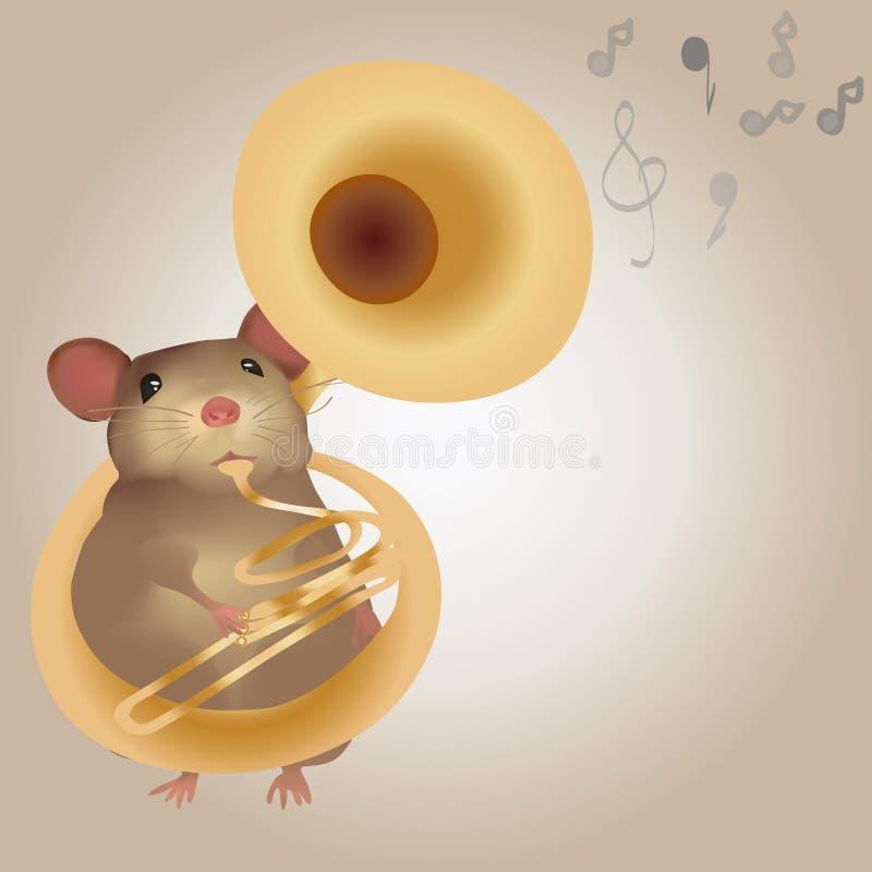 Illustration einer Maus, die auf Tuba spielt vektor abbildung