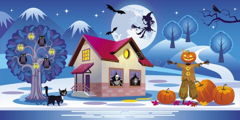 Illustration einer Nachtlandschaft von Halloween mit frequentiert stock abbildung