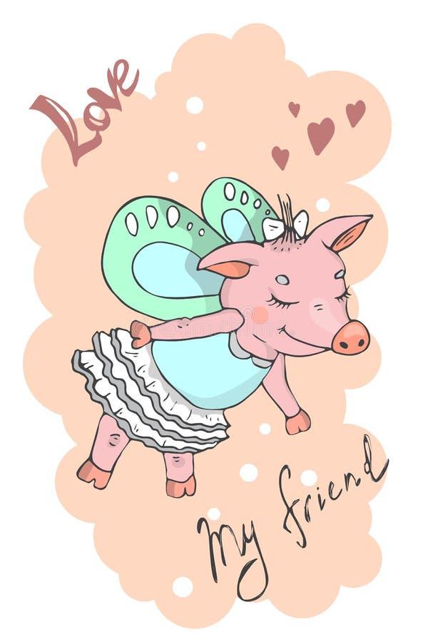 Illustration einer netten Karikatur piggy vektor abbildung