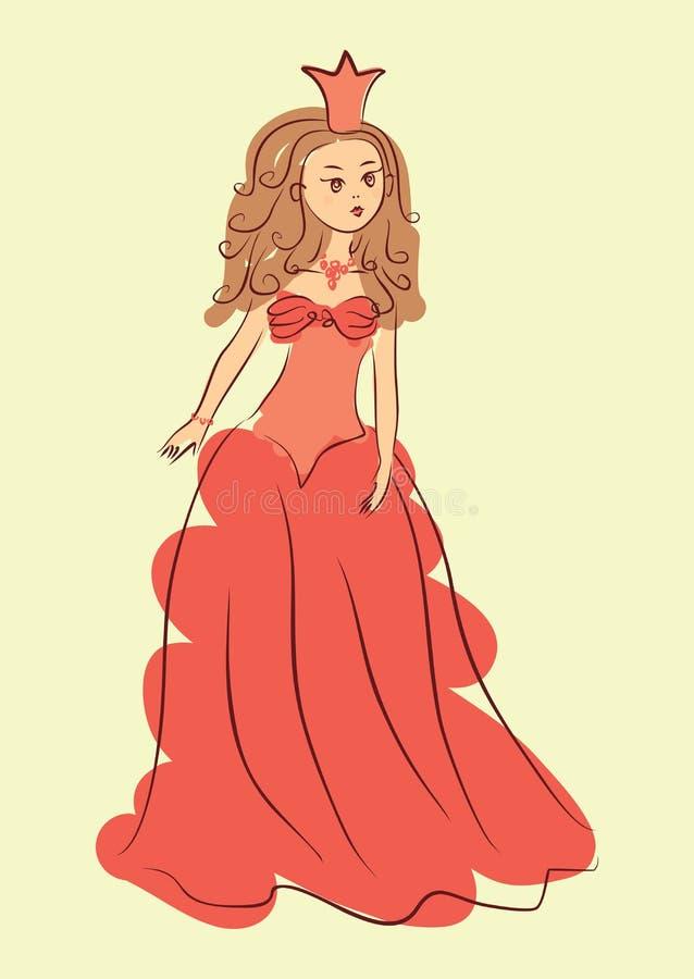 Illustration einer netten Prinzessin stock abbildung