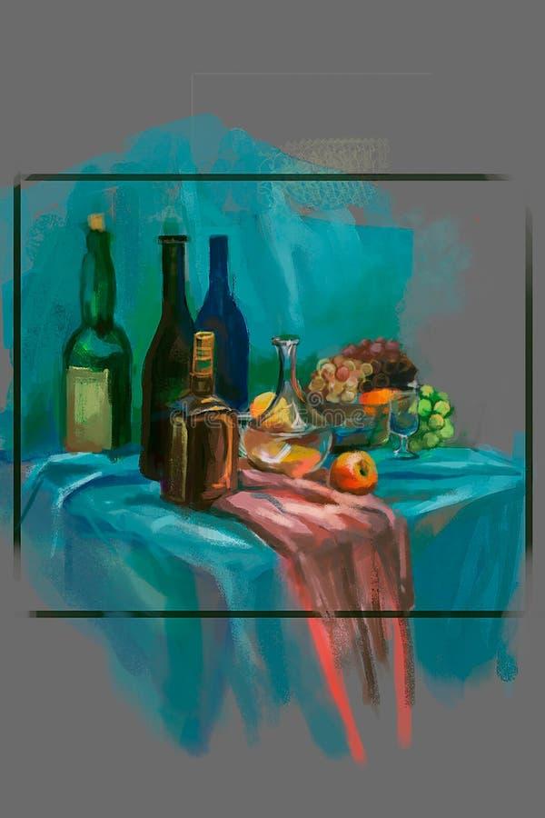 Illustration einer Weinflasche auf dem Tisch lizenzfreie abbildung
