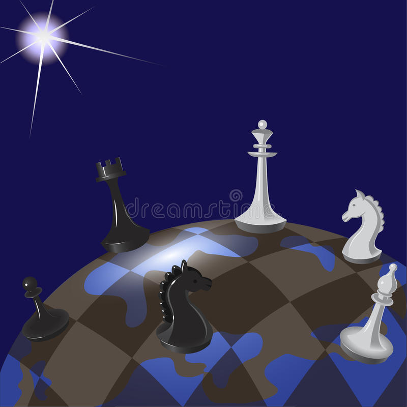 Illustration einer Weltpolitik als Spiel des Schachs stock abbildung