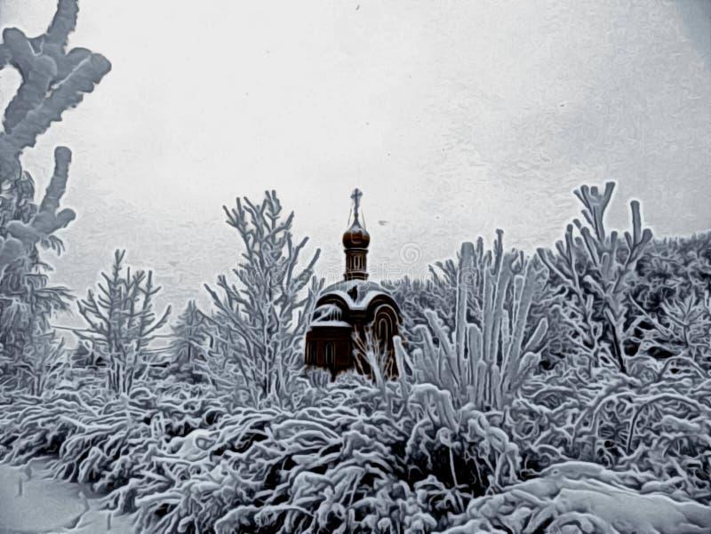 Illustration einer Winterlandschaft mit einer Kirche stockbilder