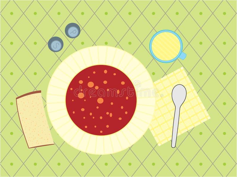 Illustration eines Abendessens lizenzfreie abbildung