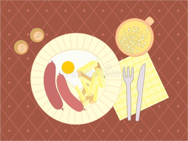 Illustration eines Abendessens stock abbildung