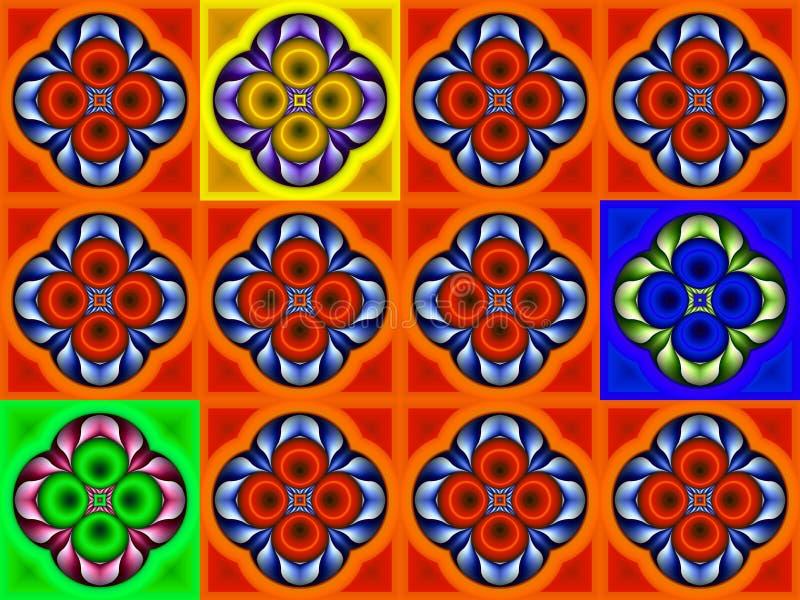 Illustration eines abstrakten Hintergrundes einer Farbquadratpflasterung lizenzfreies stockfoto