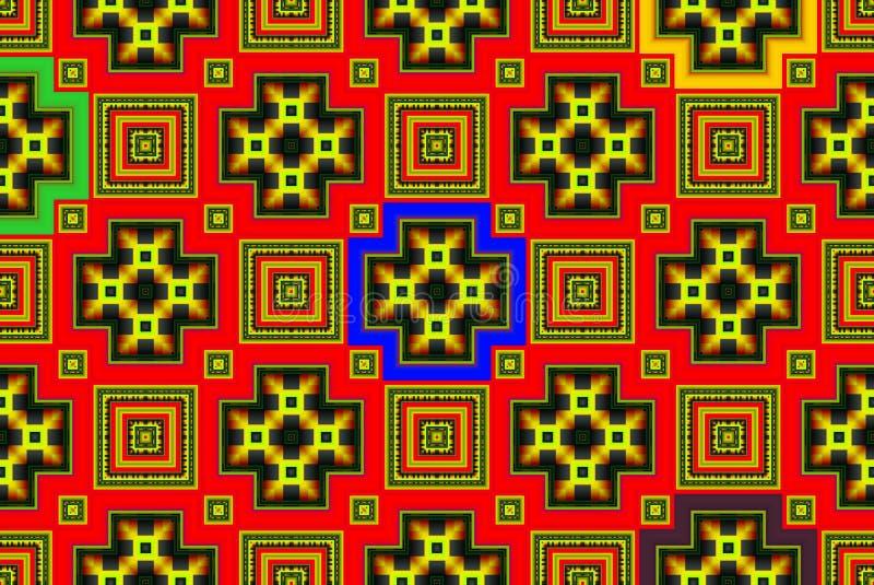 Illustration eines abstrakten Hintergrundes einer Farbquadratpflasterung stockfoto