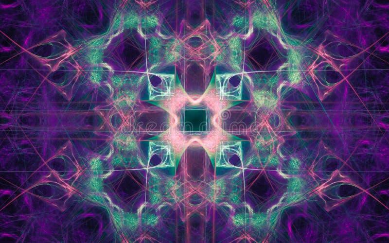 Illustration eines abstrakten Hintergrundes in Form von einer Verzierung der lila, gr?nen Farbe und vielen Linien mit einem Gl?he lizenzfreie abbildung
