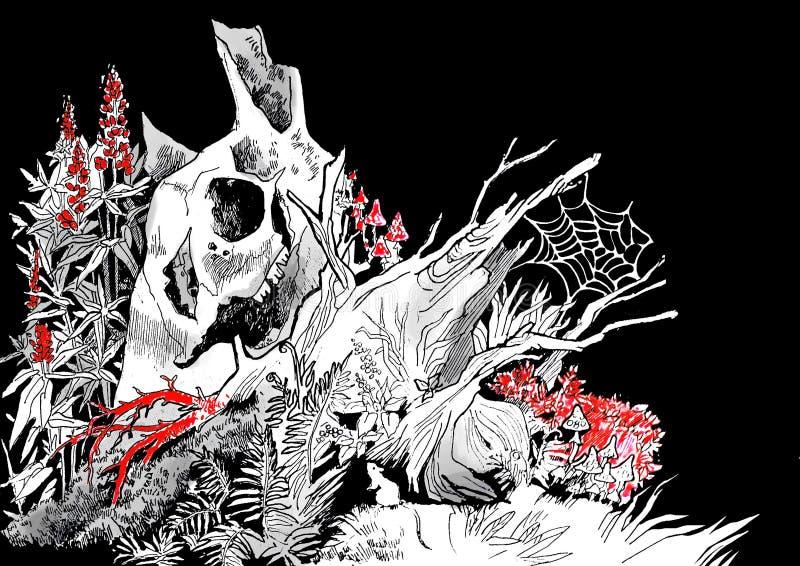 Illustration eines alten faulen Baumstumpfs stock abbildung