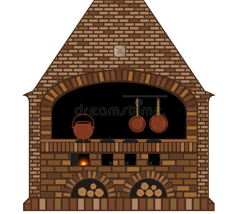 Illustration eines alten traditionellen Küchenkaminofens vektor abbildung