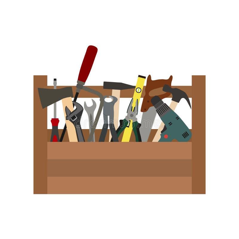 Illustration eines Baukastens mit Werkzeugen auf einem weißen Hintergrund stock abbildung