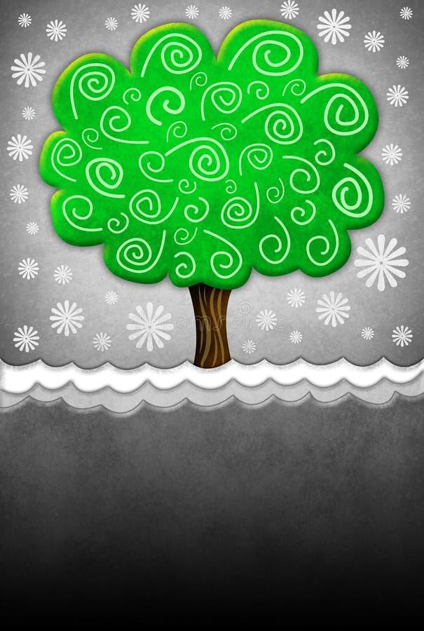 Illustration eines Baums mit alter Schmutzpapierbeschaffenheit lizenzfreie abbildung