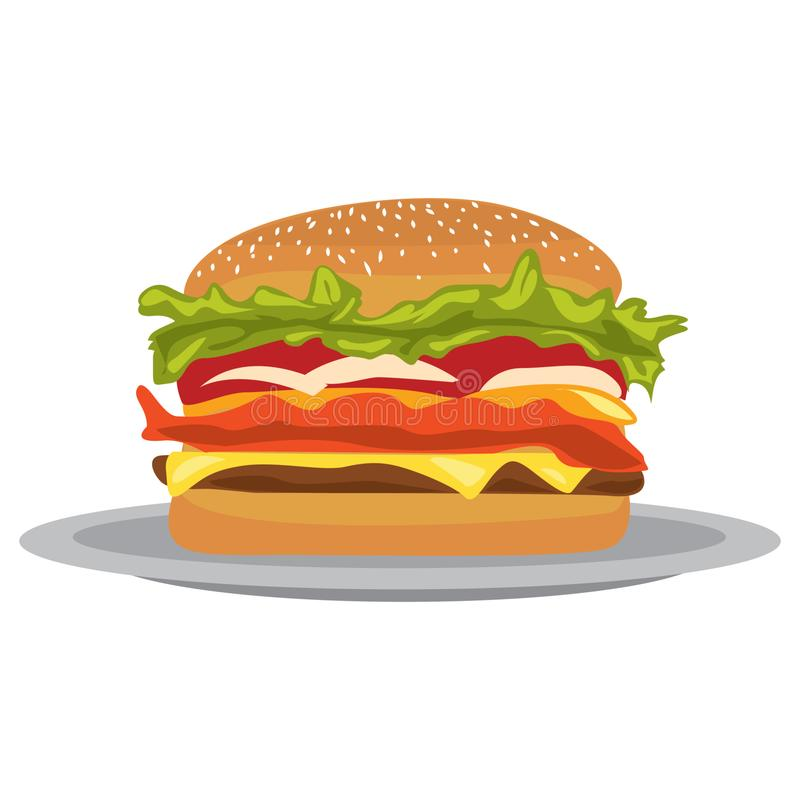 Illustration eines Burgers in einer flachen Entwurfsart Illustration eines flachen Schnellimbissburgers des Entwurfs Burger auf e vektor abbildung