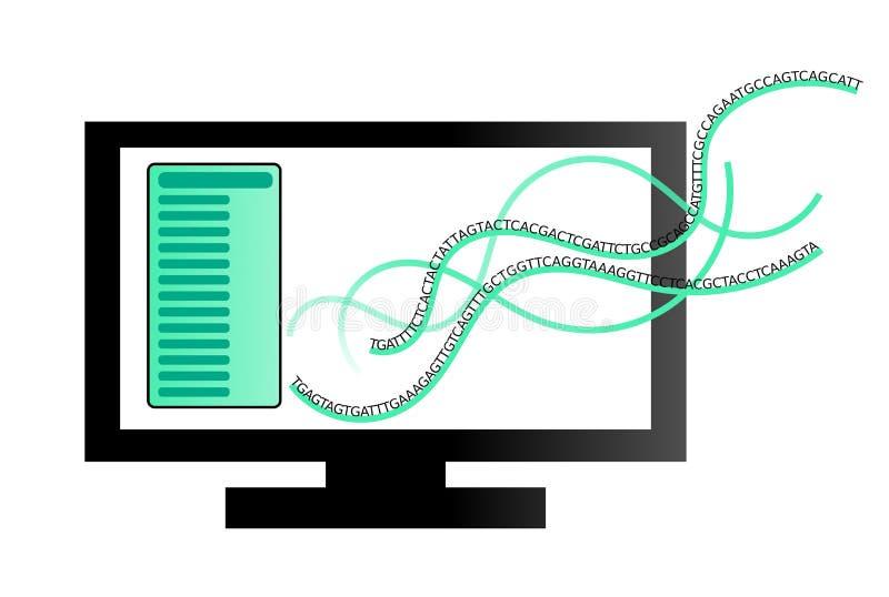 Illustration eines Computers mit DNA-Sequenzierungs-Informationen lizenzfreie abbildung