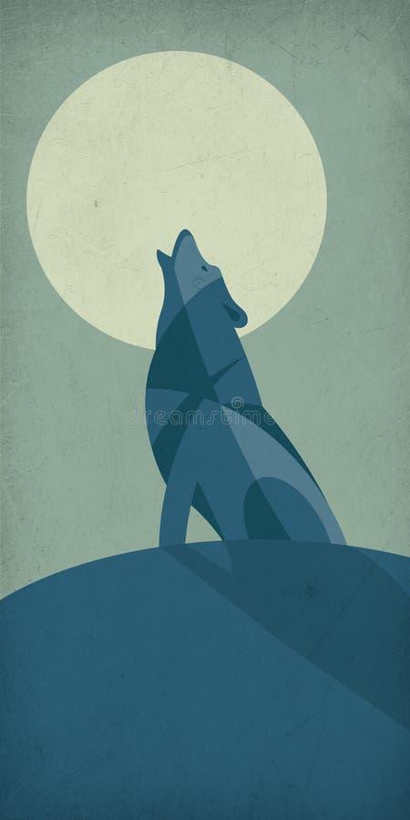 Illustration eines einsamen Wolfs, der vor dem Mond schreit stockfotos