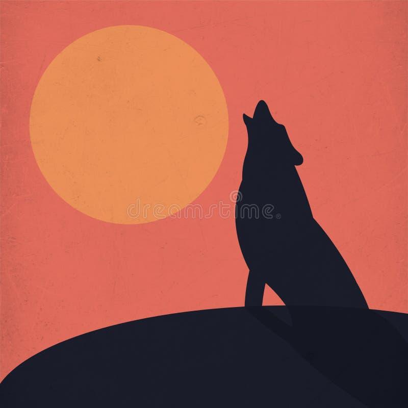 Illustration eines einsamen Wolfs, der vor dem Mond schreit stockfoto