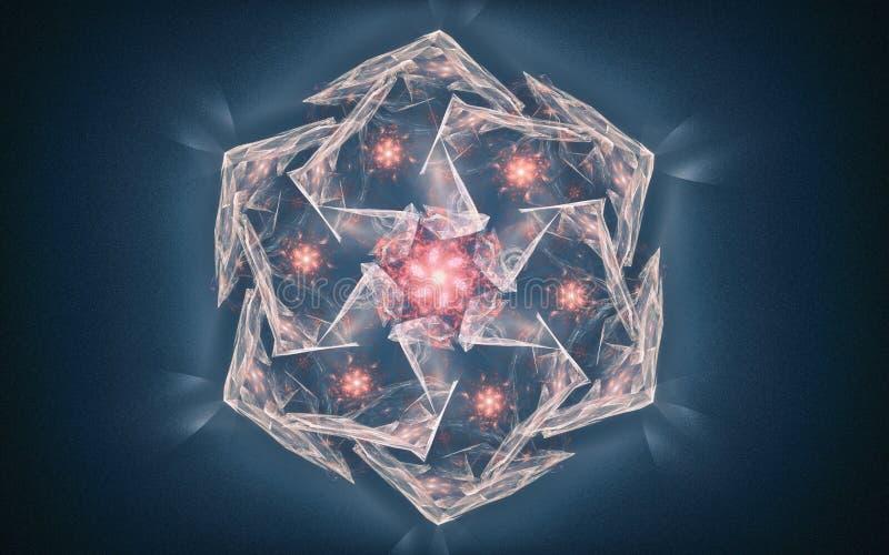 Illustration eines fantastischen Kristalles auf einem Hintergrund von Blaubelag aus vielen Gesichtern der silbernen Farbe mit ein vektor abbildung