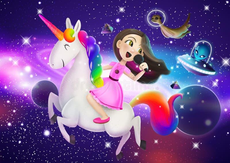 Illustration eines farbigen magischen Raumes mit einer Prinzessin lizenzfreie abbildung
