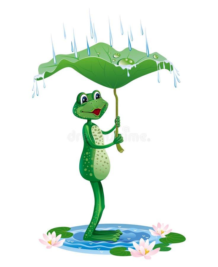 Illustration eines Frosches, der vom Regen unter einem Blatt sich versteckt vektor abbildung