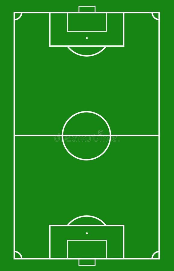 Illustration eines Fußballplatzes Fußballplatz- oder Fußballplatzhintergrund stock abbildung