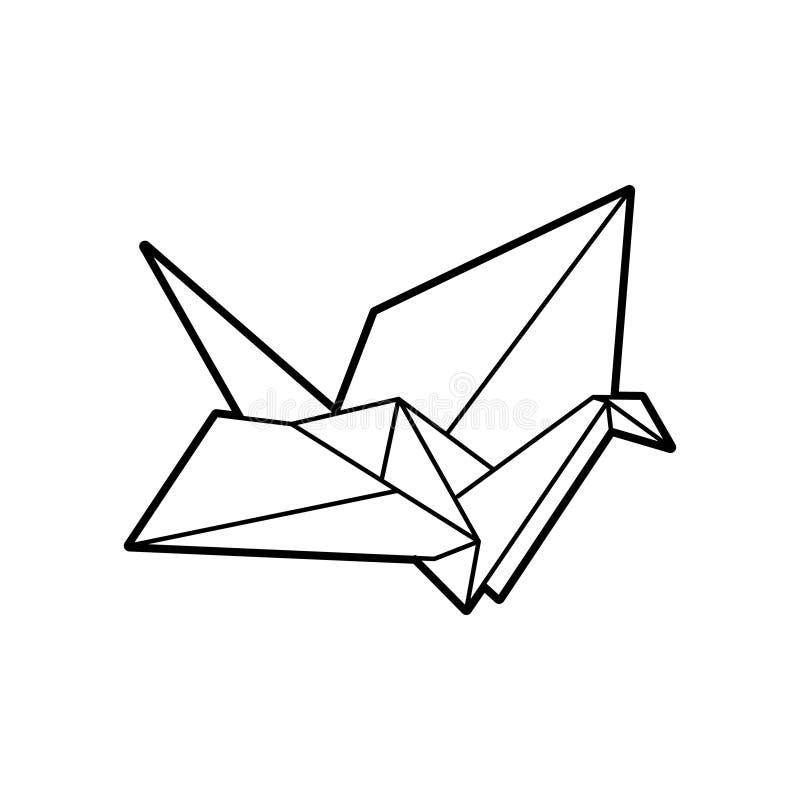Illustration eines gefalteten Papiervogels lizenzfreie abbildung