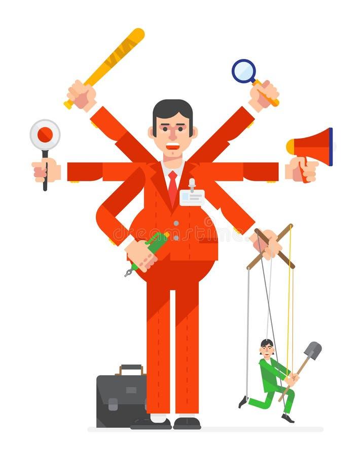 Illustration eines Geschäftsmannes in einer flachen Art Direktor des Projektleiters Leiter der Abteilung Büro Manager Ein multiha vektor abbildung