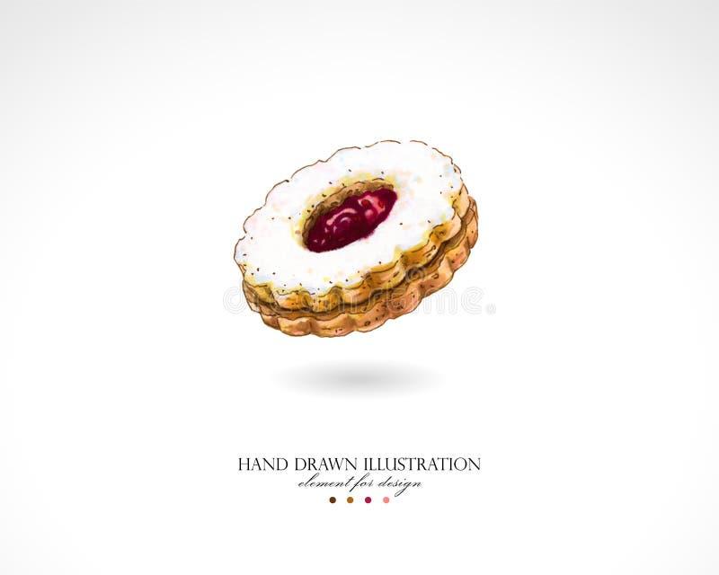 Illustration eines geschmackvollen süßen runden Plätzchens mit der Himbeermarmelade gezeichnet durch Hände auf einem weißen Hinte vektor abbildung