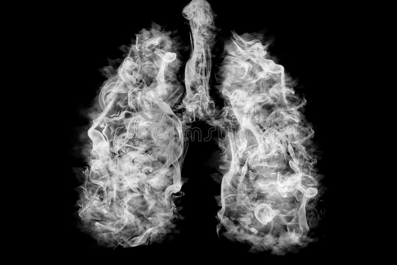 Illustration eines giftigen Rauches in der Lunge Lungenkrebskonzept stock abbildung