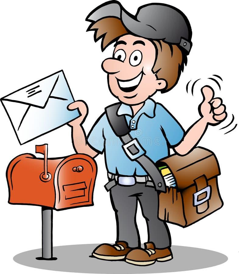 Illustration eines glücklichen Briefträgers lizenzfreie abbildung